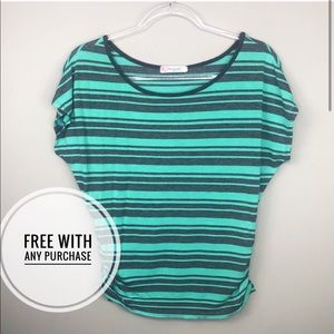 FREE ⭐️ Teal Blue & Gray Striped Cinched Top
